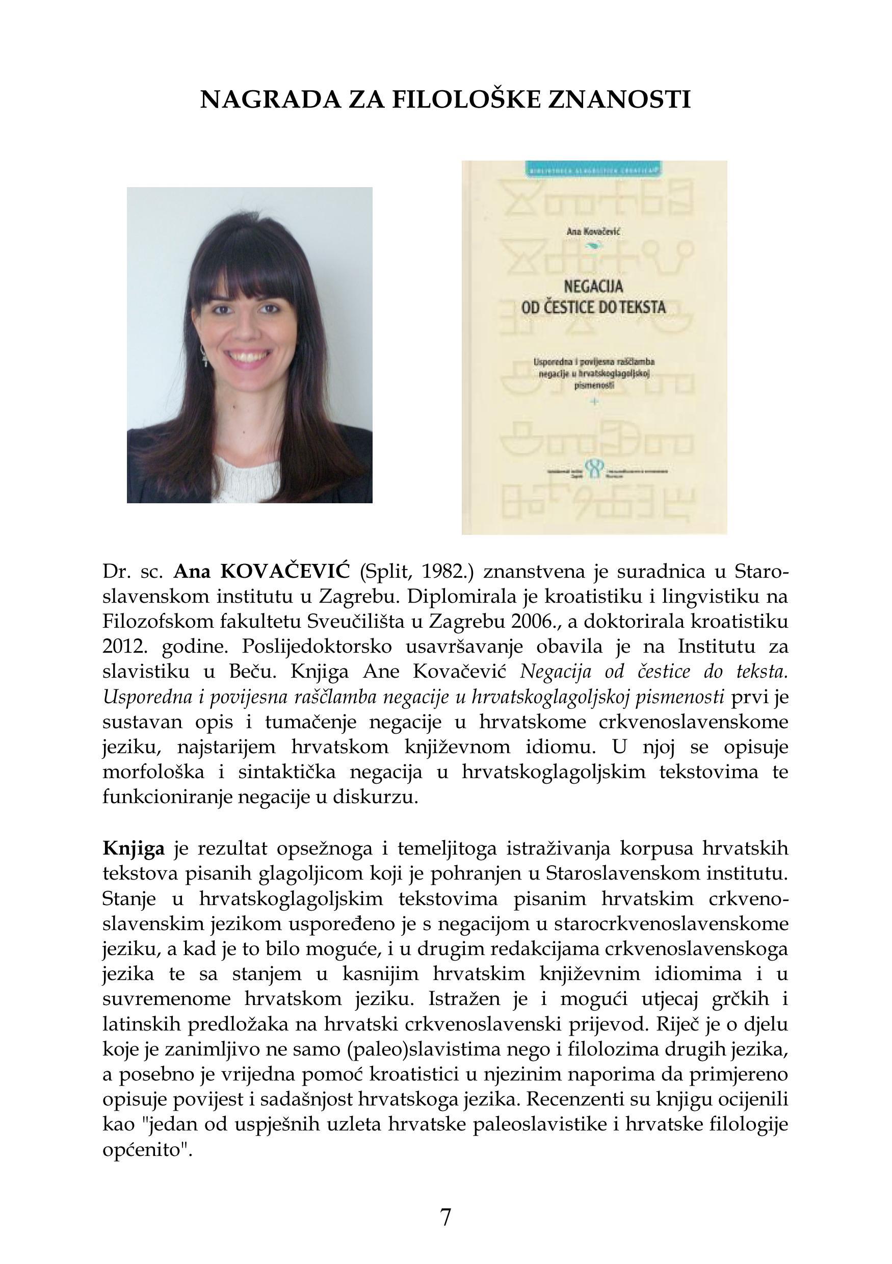 Dr. sc. Ana Kovačević – dobitnica godišnje nagrade Hrvatske akademije znanosti i umjetnosti